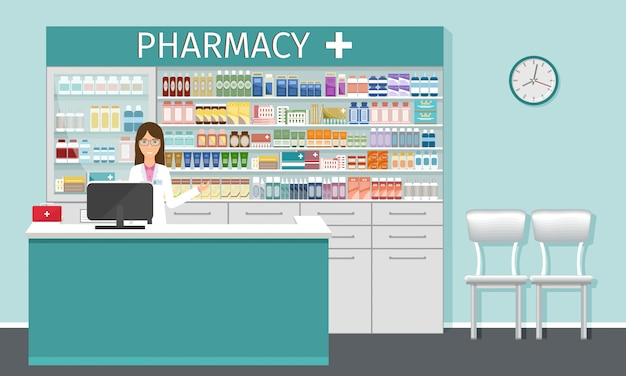 Аптека счетчик с фармацевтом. аптека интерьер с витринами.