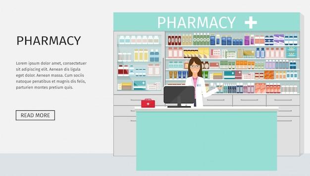 Веб-баннер дизайн аптеки интерьер с женский аптекарь персонаж на прилавке.