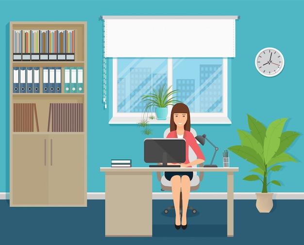 ノートパソコンとテーブルに座って職場の女性会社員。オフィスインテリアのビジネスワーカーのキャラクター。