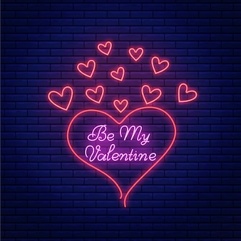 明るいレタリングテキストとハートの形をしたバレンタインの日のネオンサイン。ネオンスタイルのバレンタイン挨拶エンブレム。