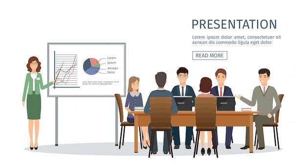 Деловые люди встречаются в офисе. предприниматель, презентации проекта. иллюстрация