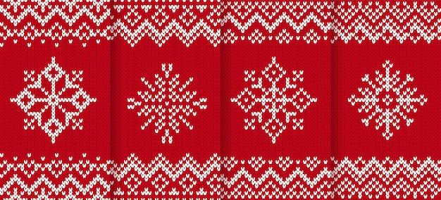 Вяжем новогодний узор. красный бесшовного фона. векторная иллюстрация