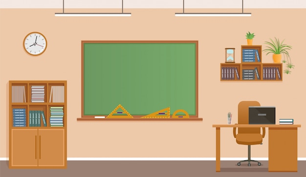黒板、時計、先生の机がある教室。学校の教室のインテリアデザイン。