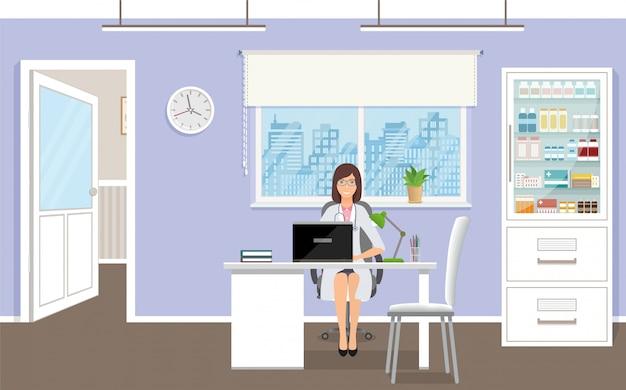 クリニックで患者を待っている薬従業員のキャラクター。医者のオフィスの机に座って制服を着た女医。