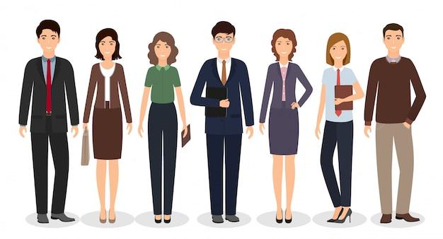 白い背景の上に一緒に立っているビジネス労働者のグループ。さまざまなポーズの会社員。