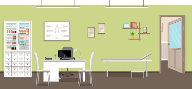 空の診療所のインテリアデザイン。クリニックの医師の診察室。医療コンセプトで働く病院。