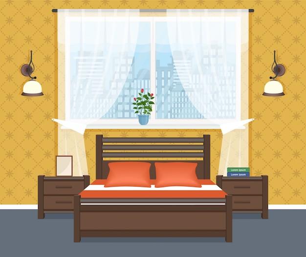 ベッド、ベッドサイドテーブル、ウォールランプ、窓を備えたベッドルームのインテリアデザイン。国内の部屋のデザイン。