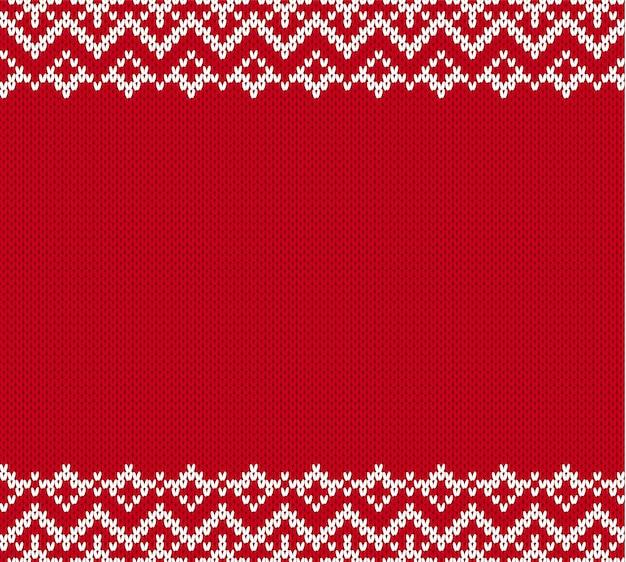 テキストのための空の場所でセーターのニットテクスチャパターン。ニットの幾何学的な飾りの背景。