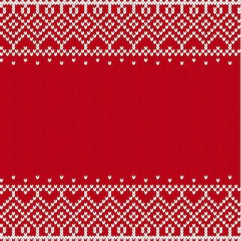 テキストの空の場所でスカンジナビアスタイルの幾何学的な飾りを編みます。フェアアイルスタイルのセーターのニットパターン。