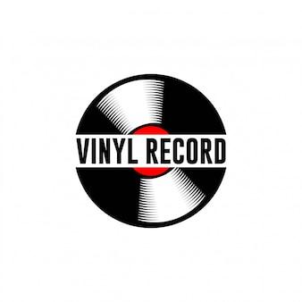 音楽のロゴのテンプレート。音符とビニールレコード。ターンテーブルの図