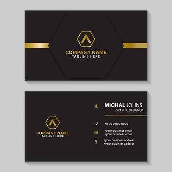 Черно-золотой шаблон визитной карточки