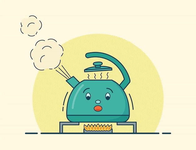 Кипящий чайник персонаж в квартире. иллюстрации.