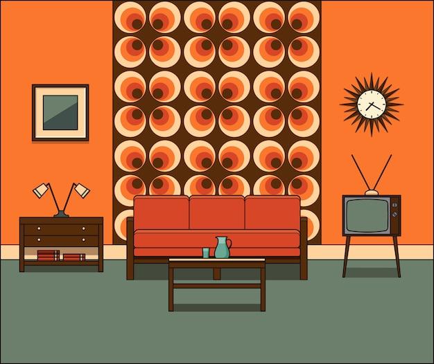 リビングルームのインテリア。ラインアートのレトロな部屋。線形図。グラフィックス。ソファ、テレビセット、フラットのコーヒーテーブルとビンテージホームスペース。ハウス機器。漫画の家具。
