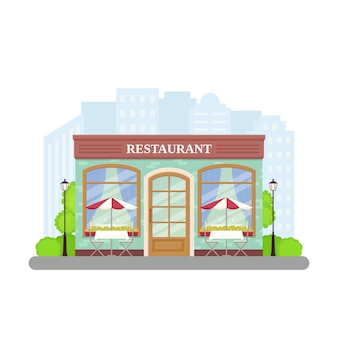 レストラン。ストリートカフェショップ。フラットの図。