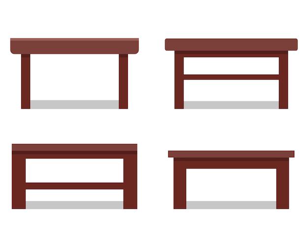 フラットのコーヒーテーブル。アイコン。漫画のリビングルームの家具。