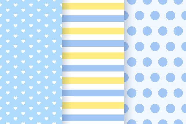 シームレスな赤ちゃん男の子パターン。ベビーシャワーの背景。 。フラットの招待状、招待テンプレート、カード、誕生パーティー、スクラップブックの青いパステルパターンを設定します。かわいいイラスト。