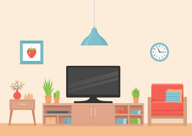 Интерьер гостиной. , номер с коралловым креслом, телевизором и подставкой под телевизор. современный дом фон с мебелью. дом внутри. домашняя квартира. иллюстрации шаржа баннер в квартире.