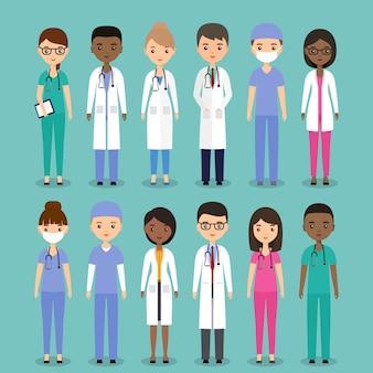 Медицинские персонажи врачи, медсестры и хирурги.