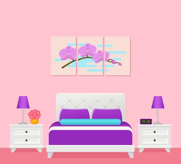 ベッド、寝室、ホテルの部屋のインテリア、