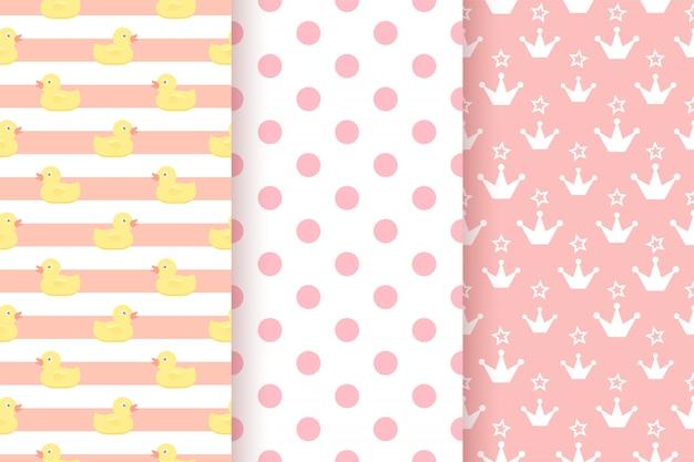 赤ちゃんのパターン。子供のシームレスな背景。ピンクのパステルカラーの幾何学的なテクスチャー。