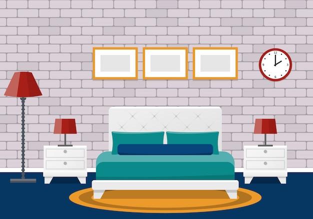 部屋のインテリア。ホテル、家具付きの寝室のデザイン。