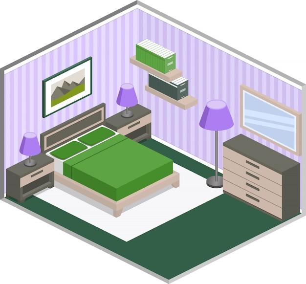 Современный дизайн спальни с мебелью в фиолетовых и зеленых тонах.