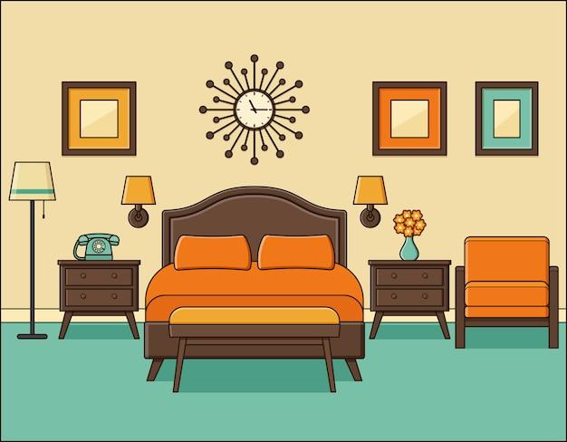 Интерьер спальни в стиле ретро. гостиничный номер в плоском дизайне с кроватью.