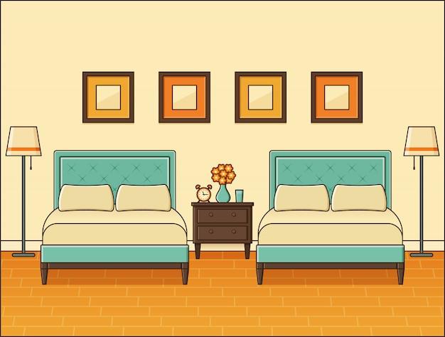 Интерьер спальни с двумя кроватями. номер в отеле. домашнее ретро пространство в плоском дизайне.