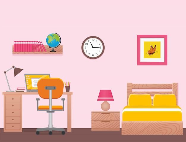 Спальня, интерьер комнаты с односпальной кроватью. иллюстрация.