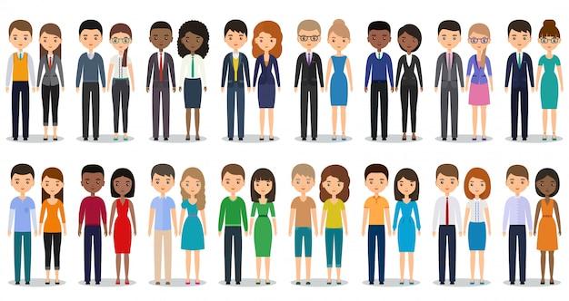平らな人々のキャラクター。男性、女性、カジュアルな服装とビジネス服が一緒に立っています。
