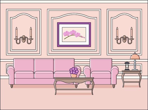 リビングルームのインテリア。フラットなデザインの部屋。ラインアートのピンクの家具と家のスペース。