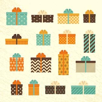 Ретро подарочные коробки в плоском дизайне. установите старинные подарки с бантами и лентами. иллюстрации.