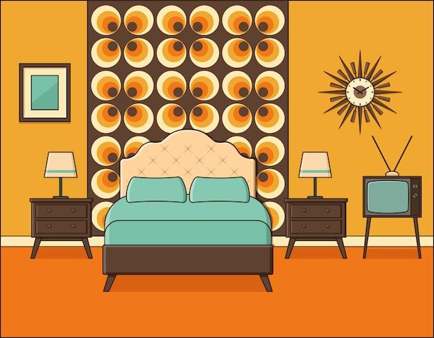 寝室のインテリア。フラットなデザインのホテルの部屋。レトロ。
