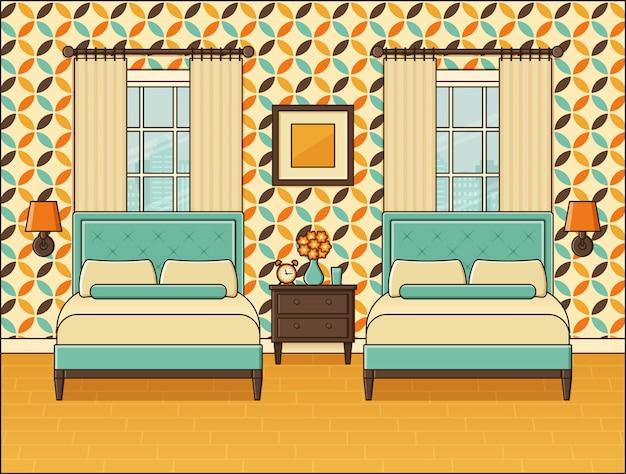 Интерьер спальни. гостиничный номер с двумя кроватями и окнами. винтажный стиль