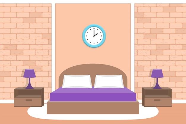 ベッドルームのデザイン。部屋のインテリアの図。