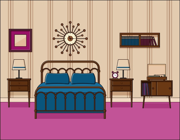 Интерьер спальни. номер в отеле. иллюстрация