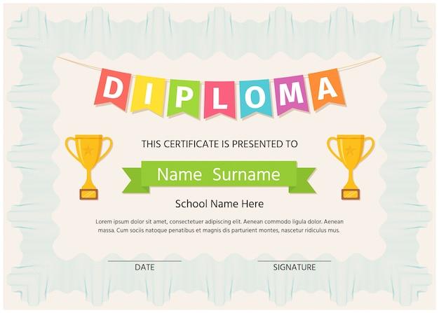 子供の卒業証書、証明書。幼稚園、幼稚園、学校テンプレート卒業