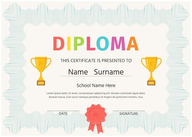 子供の卒業証書、証明書。