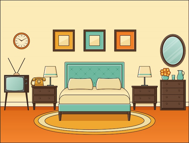 ダブルベッド付きの客室。寝室のレトロなインテリア。