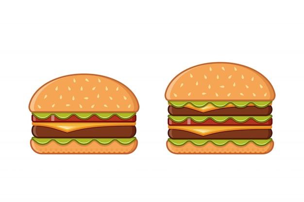 フラットスタイルのハンバーガーセット