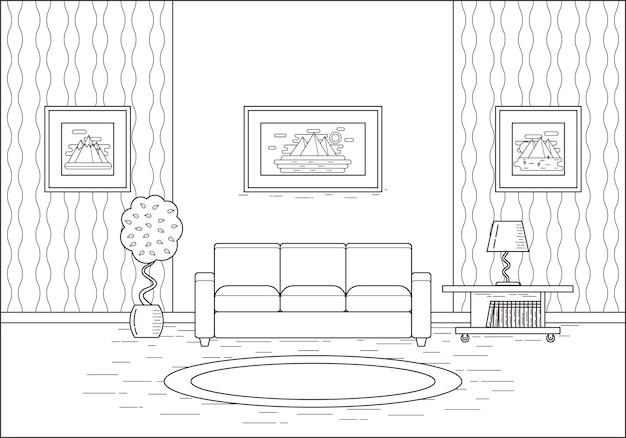 フラットなデザインの部屋のインテリアを概説します。図。