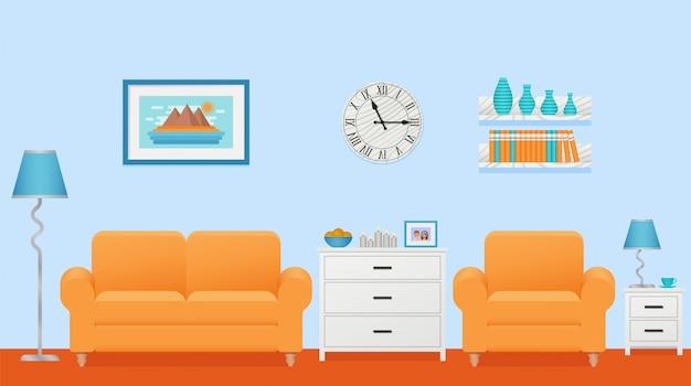 Интерьер гостиной. иллюстрации. плоский дизайн.