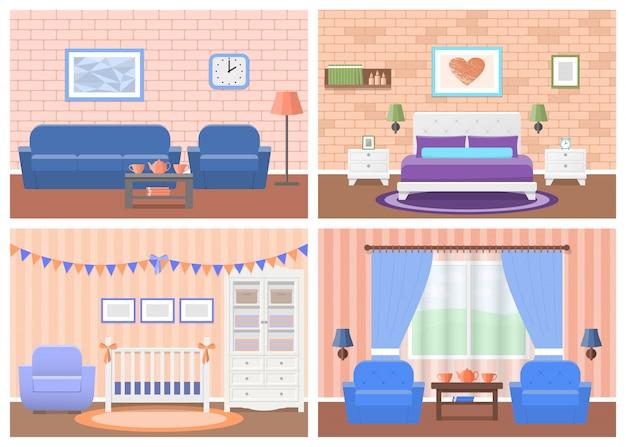 Набор комнат интерьеров в плоском дизайне. иллюстрации.