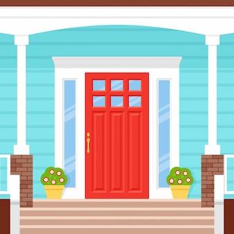玄関、ポーチハウス。図。フラットなデザインのファサード。