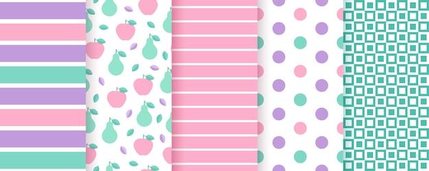 スクラップブックのシームレスなパターン。ストライプ、水玉、フルーツ、チェック付きのトレンディなプリント。図