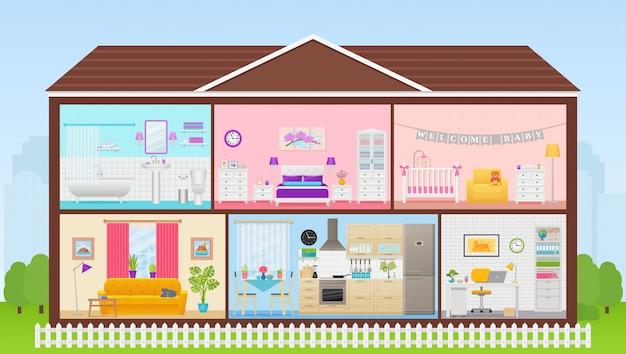 Дом внутри с комнатными интерьерами. иллюстрация в плоском дизайне.