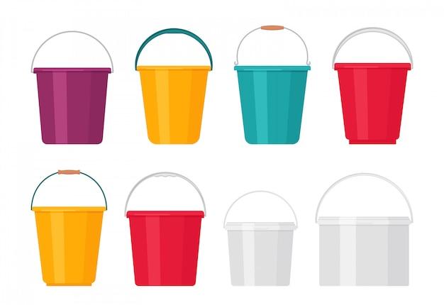 Пластиковое ведро. иллюстрации. плоский дизайн. значок ведро.