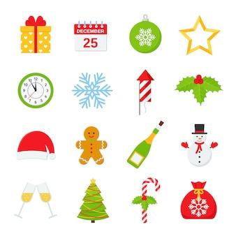 クリスマスのアイコン、冬セット。フラットなデザインのイラスト。