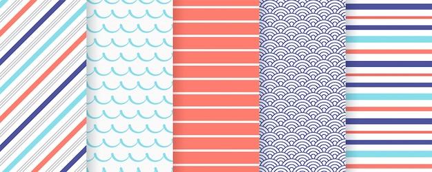 Морской, морской бесшовные модели. иллюстрации. морские фоны.