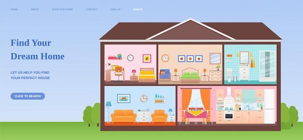 Найти дом мечты шаблон дизайна веб-страницы. плоская иллюстрация.